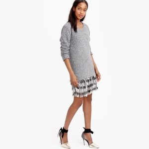 J. Crew Collection Gray Fringed Sweater Dress